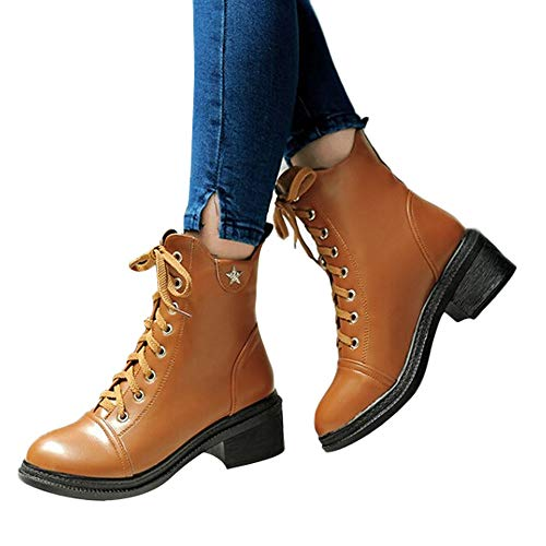 MYMYG Damen Winter Herbst warme Stiefel Lace Up Schuhe Lederschuhe Walkingschuhe Stylische Schnalle Baumwolle Winterschuhe Schuhe Walkingschuhe ()