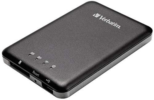 Verbatim MediaShare Wireless, tragbares Streaming-Gerät mit W-Lan, zur Datensicherung und Datenabruf, mit SD-Karten Slot und USB-Anschluss, 98243