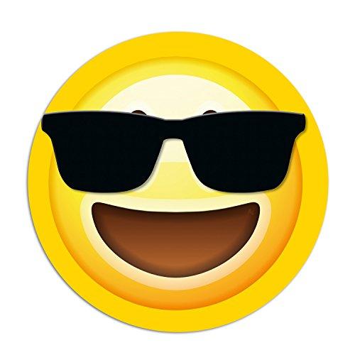 Addies Mousepad Emoji/Emoticons. Sehr schönes Mauspad Motiv in feiner Cellophan Geschenk-Verpackung mit Kautschuk Untermaterial, rund, 190mm Durchmesser, Motiv-Sonnenbrille