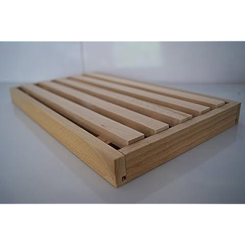 TABLA DE CORTAR PAN INCLUYE COMPARTIMENTO PARA MIGAS, 385, DE MADERA NATURAL, 330 X 185 X 25 MM