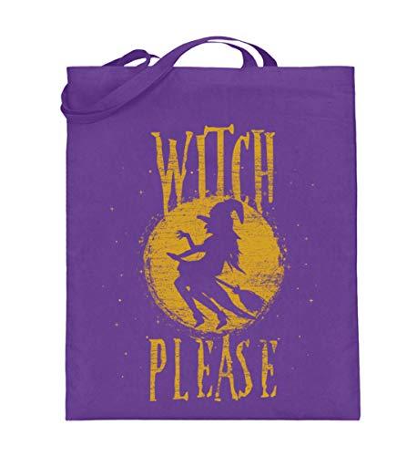 Shirtee Witch Please - Hexe Bitte - Hexen Halloween Kostüm 31. Oktober Geisterstunde Horror Nacht - Jutebeutel (mit langen Henkeln) -38cm-42cm-Violett