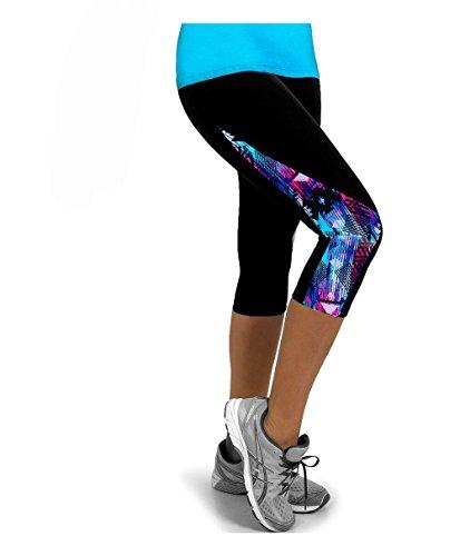 Fliegend Leggings Mujer Cintura Alta Pantalones de Yoga 3/4 Malla Impresión Push Up Fitness Leggins Elásticas Pantalones Deportivos