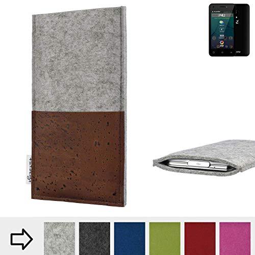 flat.design Handy Hülle Evora für Allview P42 maßgefertigte Handytasche Kork Filz Tasche Case fair
