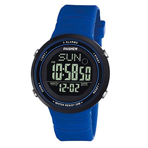 AMCAS Mädchen-Armbanduhr, modisch, einfach, untradünn, Sport, wasserdicht, Dual-Time-Damenuhr, Mädchen, blau, for 10+ Years Old (Softball-rucksäcke)