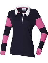 Front Row- Polo a rayas de manga larga con cuello tipo rugby para mujer