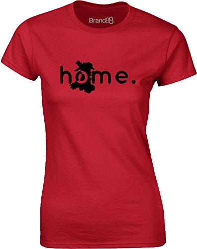 Brand88 - Home: Wales, Gedruckt Frauen T-Shirt Rote/Schwarz