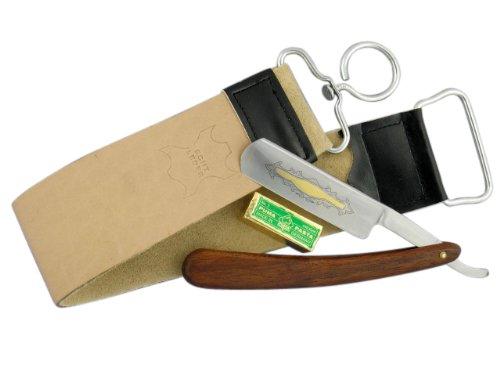 3-Teiliges Rasiermesser-Set mit Holz-Griffschalen