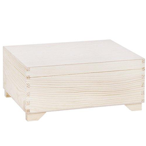 Holzkiste Deckel 30 x 20 cm mit 1 Einsatz Aufbewahrungskiste Holz Holzkiste (Holz-schmuck-boxen, Klappbar)