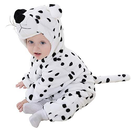 (Baby Overalls Herbst-Winter Verdickte Warm Unisex Baby Overall Cartoon Coral Plush Kinderkleidung,SnowLeopard-80)