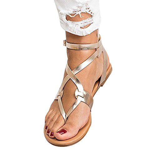 Anguang Damen Knöchel Gurt Römische Sandalen Slingback Slippers Sommer Gold 43 (Knöchel Gurt Leder)