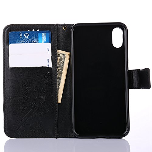 iPhone X Custodia, Cover iPhone X, JAWSEU 3D Modello Floreale Farfalla [Shock-Absorption][Anti Scratch] Wallet PU Leather Folio Case Cover per iPhone X Custodia Portafoglio con Morbido Silicone intern Floreale, Nero