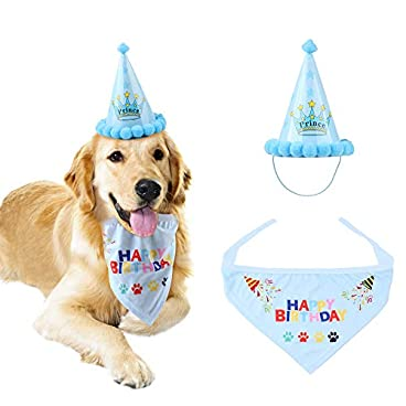 Dog Happy Birthday Bandana Scarfs and Cute Party Hat for Girls Boys,Soft Scarf & Adorable Hat for Party Accessory,Pet Birthday Gift Decorations Set