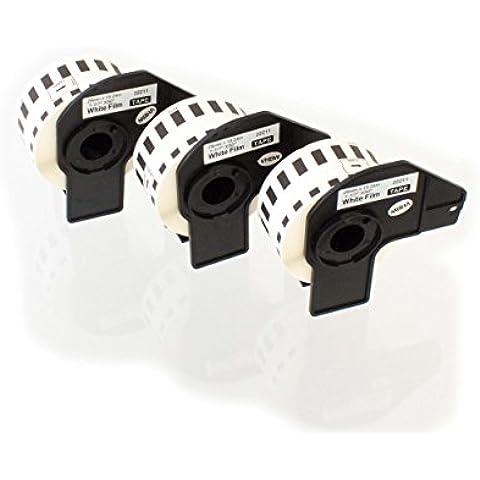 vhbw 3x Etiquetas Cinta adhesiva per Brother P-Touch QL-560, QL-570, QL-580N, QL-650TD, QL-700 por Brother DK-22211.