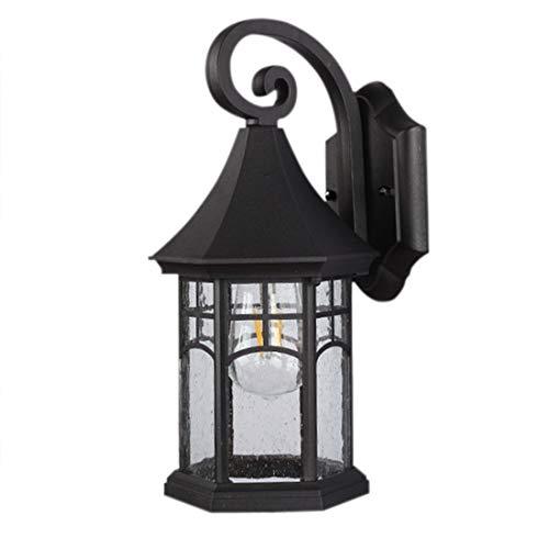 Lampada da parete, illuminazione esterna balcone parete, lampada da parete esterna nera, retro lampada esterna, lampada da parete esterna, alluminio gazebo in vetro paralume e27 ip23 lampada da bagno 17 * 19 * 35cm