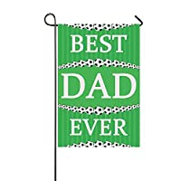 Muccum Soccer Theme Best Dad Ever Birthday Gift Polyester Garden Flag House Banner 12 x 18 inch, Happy Father
