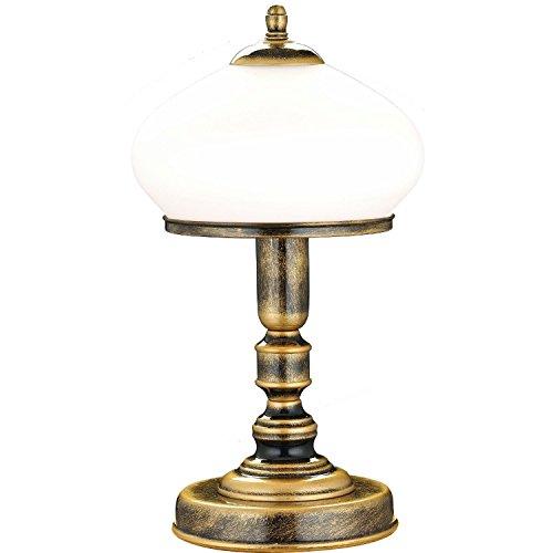 Tischlampe Messing Weiß Glas Metall rund 32cm edel SALLY Lampe Jugendstil Antik Nachttischlampe...