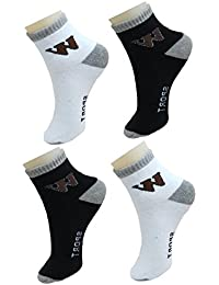 NeskaModa Men's Ankle Socks (Pack of 4) (S213-NM-WB-U-C-Ank-WhtBlk_White,Black_Free Size)
