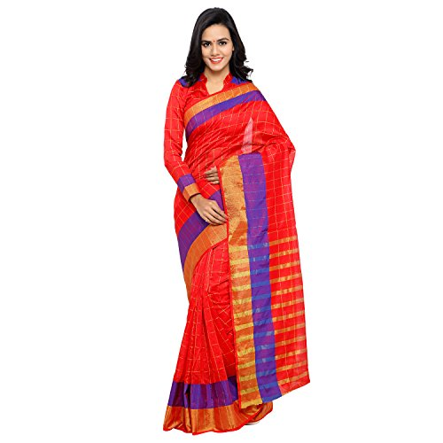 Sarvagny Clothing Women's Red Chanderi & Poly Silk Kanjivaram Saree with Blouse Piece  available at amazon for Rs.399