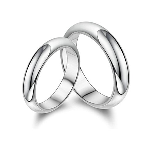 Bishiling Paarepreis Versilbert Ringe Paare Männer Frauen mit Kristall Rund Breite 4MM Silberringe Partnerringe Demen Gr.53 (16.9)&Herren Gr.57 (18.1) (20er Jahre Kostüme Für Paare)