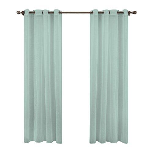 Liveinu tenda trasparenti con occhielli in voile decorativa tende tinta unita drappeggiato pannello tenda trasparente per porta o finestra, 140 x 240 cm verde
