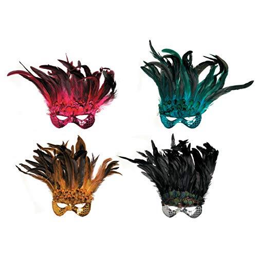 Crafts Feder Maske Pailletten Blau, Pink, Gold und Silber Sortiert (8er Pack) FM503 ()