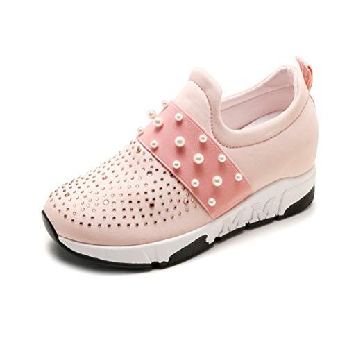 Frühling Frauen Perle Casual Creepers Herbst Plattform Schuhe Frauen Rosa Weiß Slip On Komfortable Wohnungen Schuhe