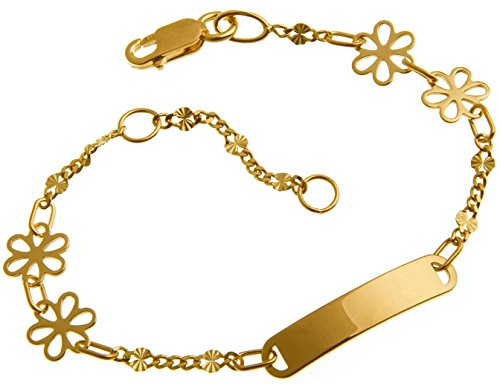 Baby Gravurarmband, ID Armband, Kinderarmband 585 Gold, inkl. Gravur, Länge 14cm (Baby Charm Gold)