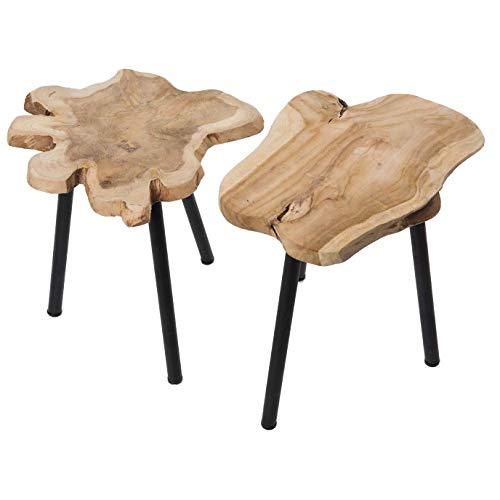 Teakholz Beistelltisch J010 Holztisch Wurzelholz Dreibeintisch aus Massivholz