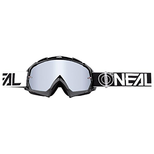 O'Neal B-10 Goggle Twoface Crossbrille Verspiegelt Silber Motocross DH Downhill MX Anti-Fog Glas, 6024-20, Farbe schwarz