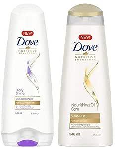 Dove Daily Shine Conditioner, 180ml And Dove Nourishing Oil Care Shampoo, 340ml