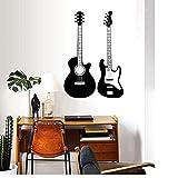 Adesivi murali Chitarra Moderna decorazione moda Adesivo murale PVC Musicista Musica Soggiorno Sfondo Adesivo Carta da parati impermeabile Decorazioni per la casa