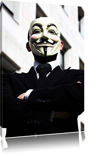 Anonymus Maske , Format: 80x120 auf hochkantiges Leinwand, XXL riesige Bilder fertig gerahmt mit Keilrahmen, Kunstdruck auf Wandbild mit Rahmen, günstiger als Gemälde oder Ölbild, kein Poster oder Plakat