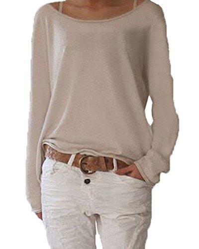 Damen Langarm O-Ausschnitt Einfarbig Lose Bluse Hemd Shirt Oversize Sweatshirt Oberteil Tops Beige