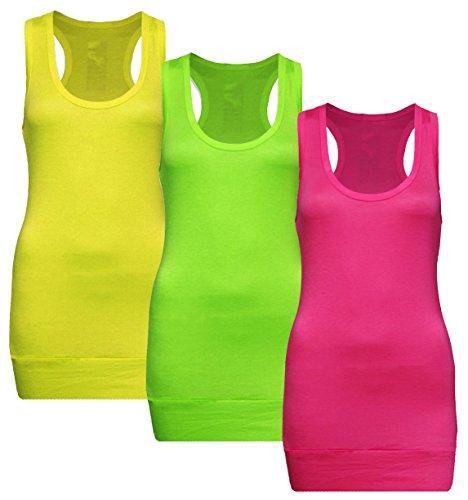 Muse 3x Damen Tanktop Racerback - Beach Top - Tank Tops - 3er Pack Ringertop - Ringerrücken - Longtop - Trägertop - TShirt - 3er Pack - Neon Yellow + Neon Green + Neon Pink - Gr. 36-38 (S-M) -