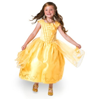 Belle Premium / Deluxe Gold Kostüm Kleid für Kinder / Mädchen, Schönheit und das Biest - Disney offiziellen - Größe (Hook Captain Kostüm Deluxe Disney)