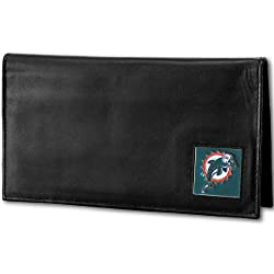 NFL Miami Dolphins Deluxe Leather Checkbook Cover