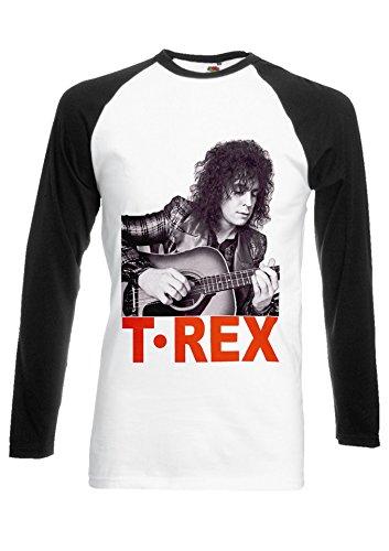 Marc Bolan T-Rex Slider English Rock 70's 80's Black/White Men Women Unisex Long Sleeve Baseball T Shirt-XXL -