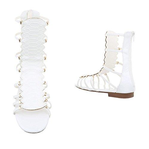Ital-Design Zehentrenner Damenschuhe Blockabsatz Reißverschluss Sandalen Sandaletten Weiß JC-173