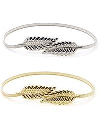 Mujer Cintura Cinturón,Hojas Metal Elástico Cintura Cintura Strap, Hojas de Metal Cadena de Cintura ,2PCS (Oro + plata)
