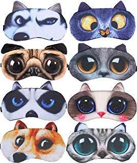 Schlafmasken für schlafende Katzen, Hund, weich, Plüsch, Schlafmasken, Augenschutz, für Kinder, Mädchen, Männer, Frauen, Flugzeug, Reisen, Nickerchen, Nacht, 8 Stück