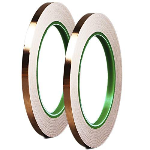 dooppa 5mm x 50m de cobre cinta con conductive Adhesive, para obras de arte, vidrieras, tetera reparaciones, soldadura, EMI blindaje, conexión a tierra (2unidades)