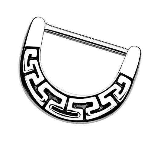 Piersando Brustwarzen Piercing Intimpiercing Nippelpiercing Brust Nippel Intim Brustwarzenpiercing Barbell Stab mit Clicker Aztec Tribal Schild Silber 1,6mm