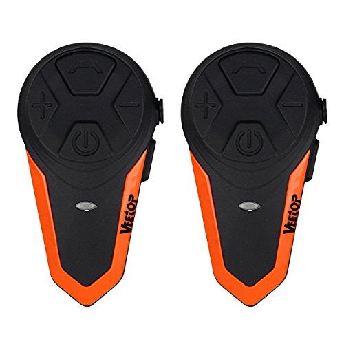 Veetop Motorrad Gegensprechanlage Bluetooth Helm-Kopfhörer-Kit, unterstützt 3 Personen Verbindung, Anzug für Reiten/Skifahren (2 Stück) Bluetooth Helm Kit