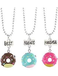STOBOK 3 UNIDS Mejor Amigo para Siempre Donut Colgante Collar Amigos Charm Collar Joyas para Niños Niños