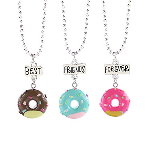 Toyvian 3Pcs Children's Friendship Necklace Set Donut Shaped Best Friends Forever Necklaces for Kids Girls