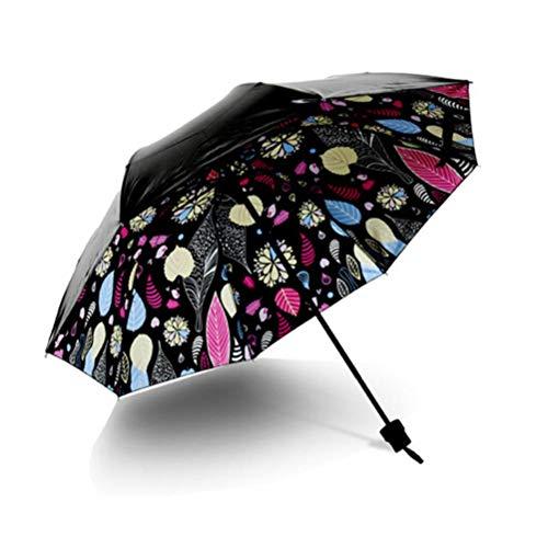 Colored Leaves schwarz klein UV Sonne/Regen Regenschirm, mamum zusammenklappbar Regen winddicht Regenschirm faltbar UV Sonne/Regen Regenschirm
