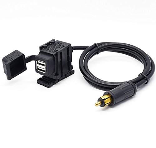 Caricatore doppio USB 5V 2.1A cavo con spina DIN Hella presa 1.8m