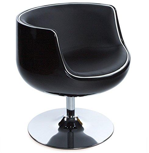 Alterego - Fauteuil design 'DEKO' boule rotative coque noire, simili cuir noir
