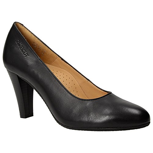 ZWEIGUT Hamburg- Smuck #215 Damen Leder Pumps Nappaleder Sommer Business Schuhe Komfort Laufsohle, Schuhgröße:39, Farbe:Schwarz