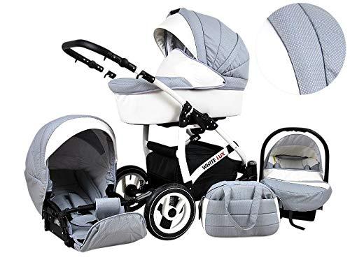 Kinderwagen whitelux, 3 in 1- Set Wanne Buggy Babyschale GRAU/SILVER